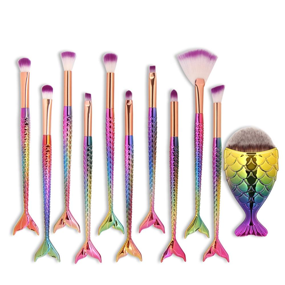 MAANGE 11Pcs Mermaid Foundation Eyeshadow Contour Makeup Brushes Set Eyebrow Lip Blusher Cosmetic Make up Brush maange 22pcs cosmetic makeup brushes set