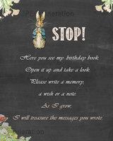Personale Personalizzato regali di Compleanno segno del messaggio libro, FERMATEVI qui, lavagna Compleanno Manifesto, Peter Coniglio Guest Book Segno sullo sfondo