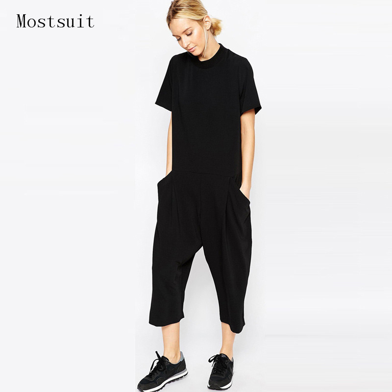 Mostsuit 2018 summer and spring Womens Jumpsuit Overalls Solid Short sleeve Bodysuit Pocket Wide Leg Casual cloth