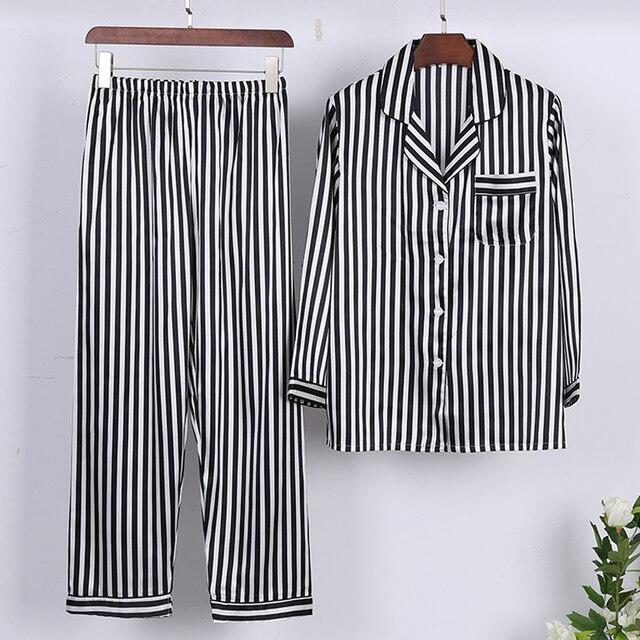 Fashion Silk Satin Sleepwear Set Striped Pajama Set Long Sleeve Nightwear Homewear Spring Autumn Pyjama Femme For Women