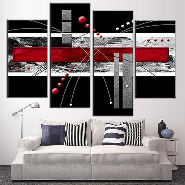 Red Canvas Wall Art aliexpress : buy 4 pcs/set canvas wall art picture red black
