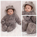 Ребенка комбинезон зима детские мальчики девочки ягненка с крышкой детская одежда новорожденных сгустите одежда