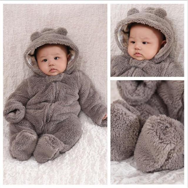 Bodysuit do inverno do bebê das meninas dos meninos do bebê de cordeiro com um boné a roupa do bebê recém-nascido roupas engrossar