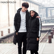 2017 Warm Man Warm Jacket Windproof Casual Outerwear Thick Lovers Long Coat Men Top Quality Parka Hooded woman Long Down Jacket
