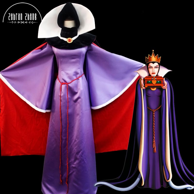 Top Quality Movie Snow White Evil Queen Costume Dress Halloween Cosplay Costume Custom Made halloween queen cosplay dress