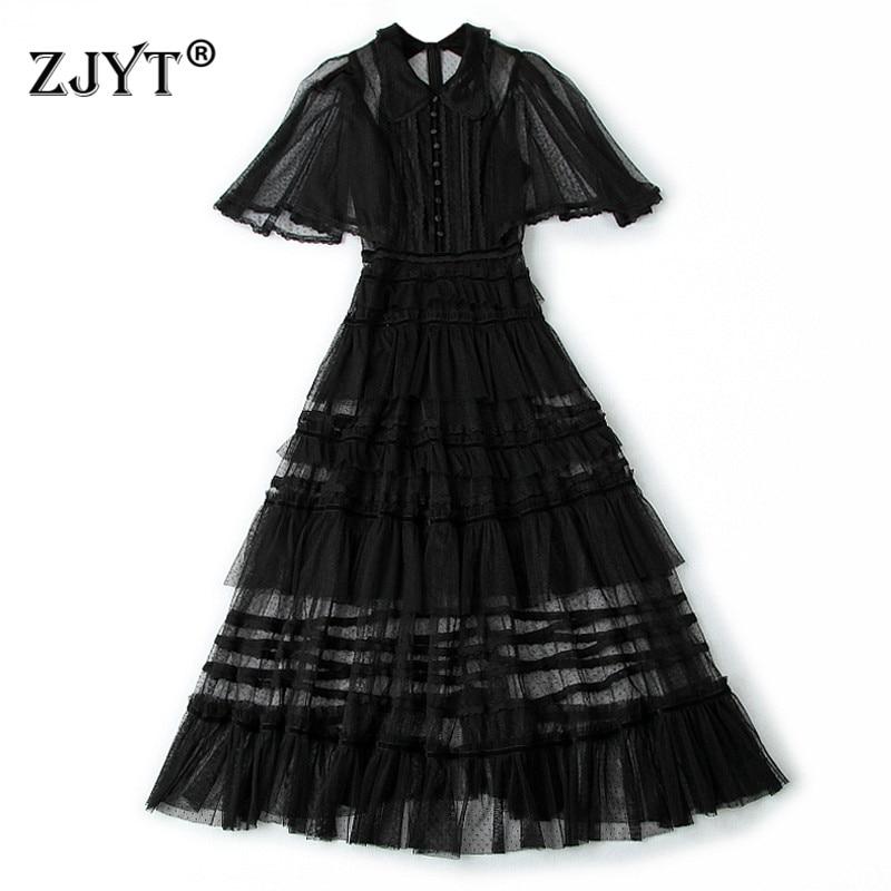 Summer Dress 2019 Women's Fashion Designer Butterfly Sleeve Cascading Ruffles Mid Calf Transparent Sexy Black Tulle Dress Party