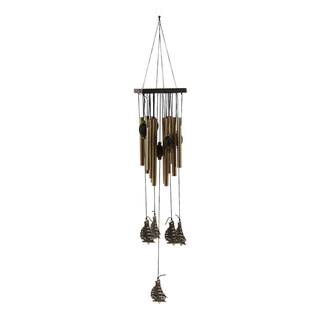 New Amazing 12 Tube Fengshui Sailboat Windchime Bell Outdoor Yard Garden Living Room Metal Hanging Decorative