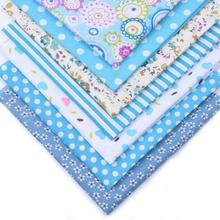 7Pcs 25cmx25cm Blue Style Dots and floral stripes Cotton Printed Fabric for Patchwork Needlework Handmade Material