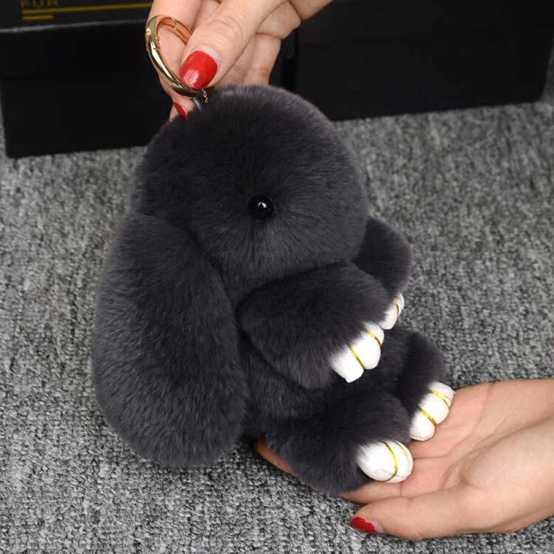 Pluff 14 centímetros Bonito Chaveiro Coelho Rex Genuína Pele De Coelho Chaveiro Para As Mulheres Saco de Brinquedos Boneca Fofo Po Pom EH2 Pompom Lindo Chaveiro