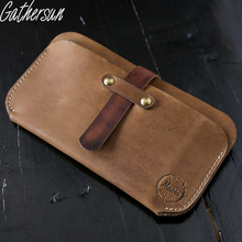 Gathersun Brand New HandMade Retro Crazy Horse Leather Long Men's Wallet First Layer Leather Women's Genuine Leather Thin Purse