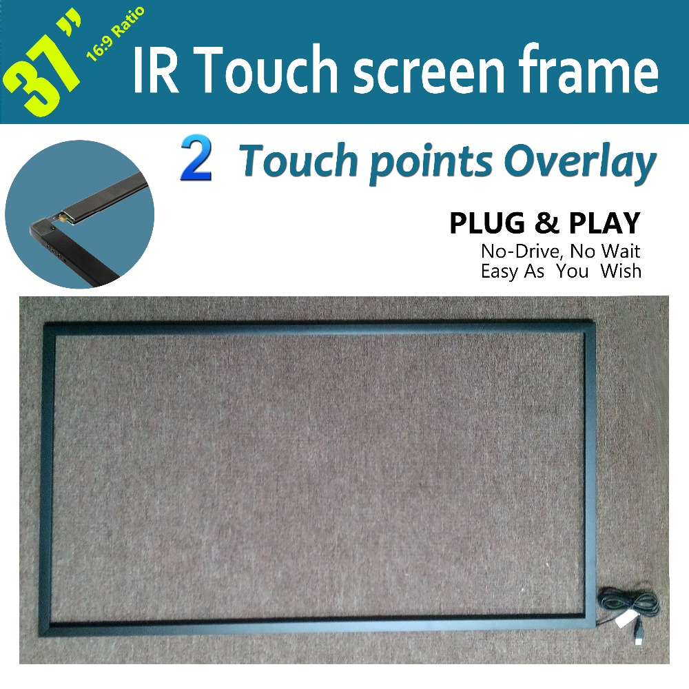 "Free Shipping 2 points 37"" IR Touch Screen Overlay Kit For Advertising And Shop Window, True 2 Points Touch, Fast Delivery"