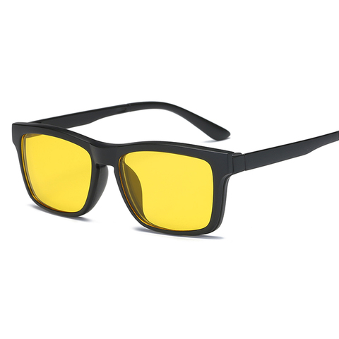 samjune Clip on Sunglasses clip on glasses square Lens Men Women mirror clip Sun Glasses Night Vision Driving sunglasses for men Multan