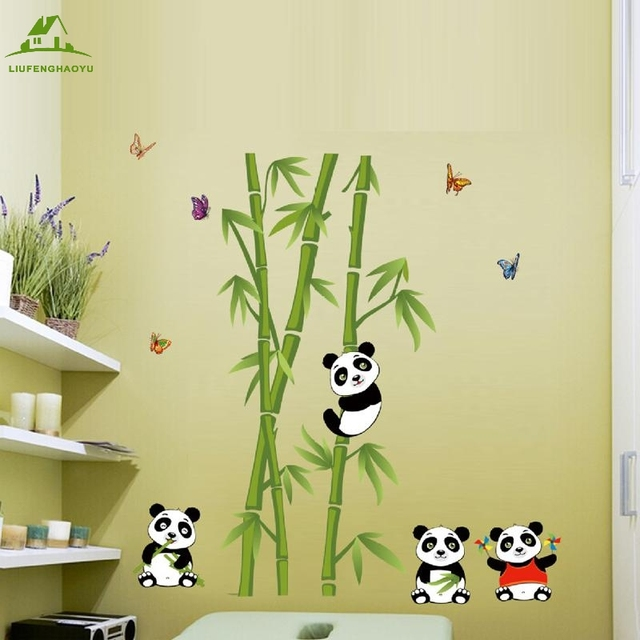 Cute panda bamboo DIY Vinyl Wall Stickers Home Decor Art Decals ...