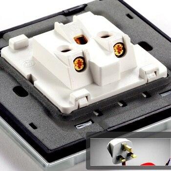 EK Standard Multi Function Crystal Glass Panel,Universal Power Socket with Five Hole Socket for Home Appliance Socket 6