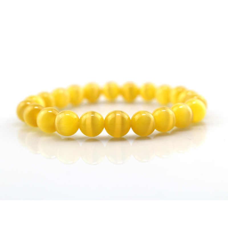 8MM Yellow  cat eye stone Beads men bracelets Lucky Charm Natural stone  Leopard Bracelets for men Yoga Bracel