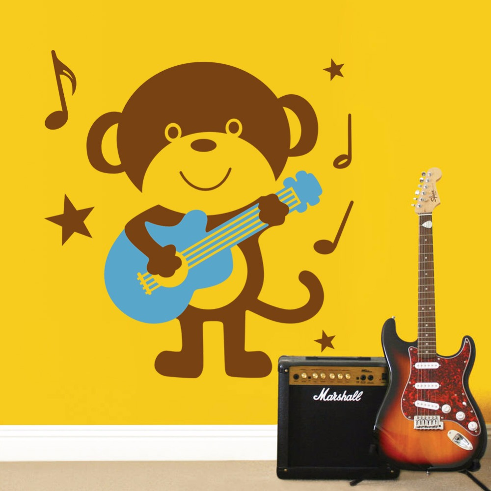 Home Decor Plane Cartoon Wall Stickers Monkey Guitar Pattern For Bay ...