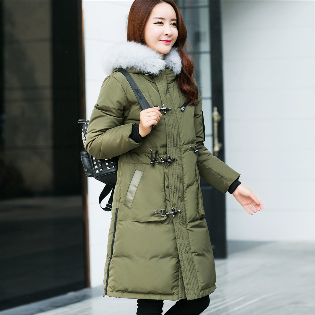 Quality Winter Jacket Women Long Parka Fur Collar Hooded Down Coat Female Plus Size S-5XL Army Green Black Warm Coat thickening warm fur collar winter coat new 2016 women clothes lamb wool jacket hooded parka army green overcoat xl a3878