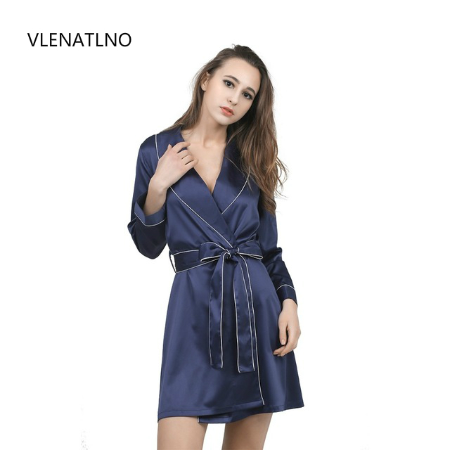 High Grade Satin Chiffon Robe Solid Spring Summer Sexy Women Bathrobe Home Clothes  Sleepwear Bath Robes Women s Dressing Gown-in Robes from Underwear ... 7ede86b3c
