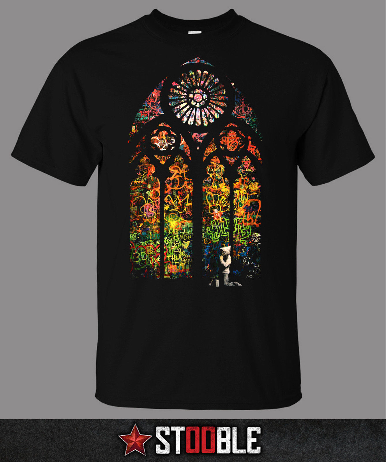 Stained Glass Banksy T-Shirt - New T Shirts Funny Tops Tee Unisex Fashion Summer Paried Tshirts Black Style