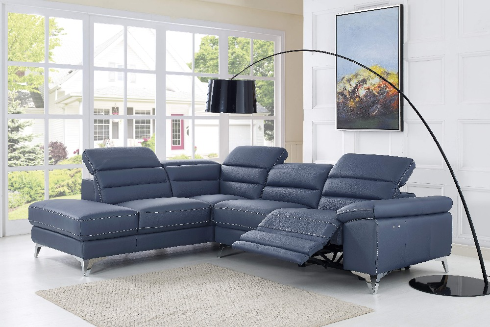 Royal Furniture living room Classic Genuine leather sofa with corner ...