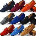 US6-12 Suede Couro Mens Sapatos Mocassim homens barco sapato ESCORREGAR mocassins 0N CARRO ocasional Loafer borla