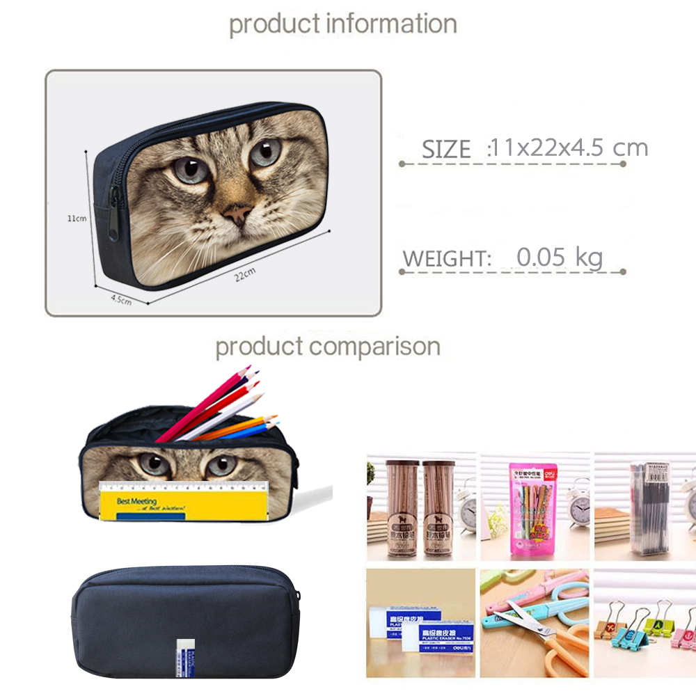 ELVISWORDS Custom Women Cosmetic Cases Children Pencilcase Makeup Bags for Ladies Students Kids Pencil Bags Travel Pen Pouch