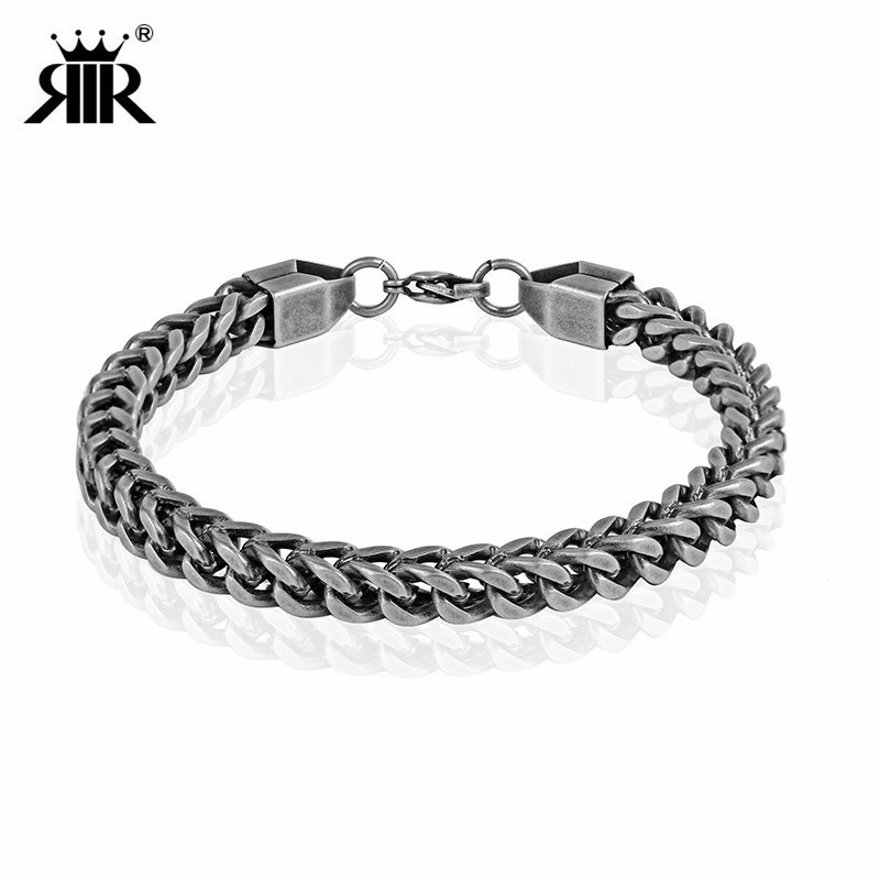 RIR Stainless Steel Retro Color Crude Chain Bracelet Classic Domineering Men's Jewellery Bracelet Daily Gift For Him