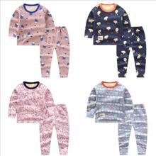 2PCS/lot kids baby pajamas jammies suit children's warm underwear baby boys girls pajamas sets winter cartoon clothes sleepwear