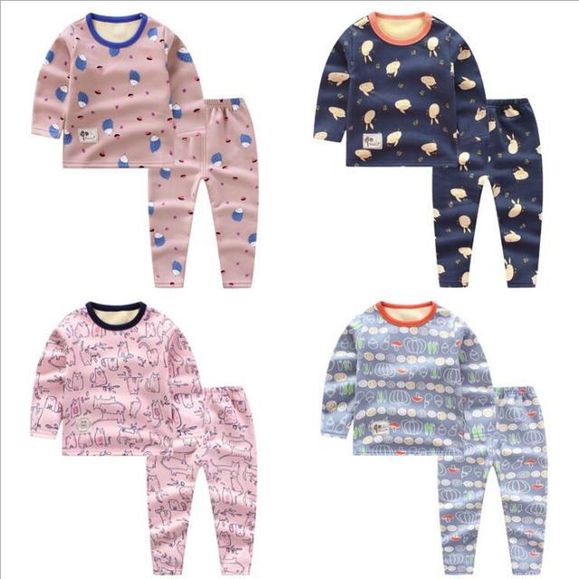 2PCS lot kids baby sleepwear pajamas jammies suit children s warm underwear  baby boys girls pajamas sets winter cartoon clothes 71580677b