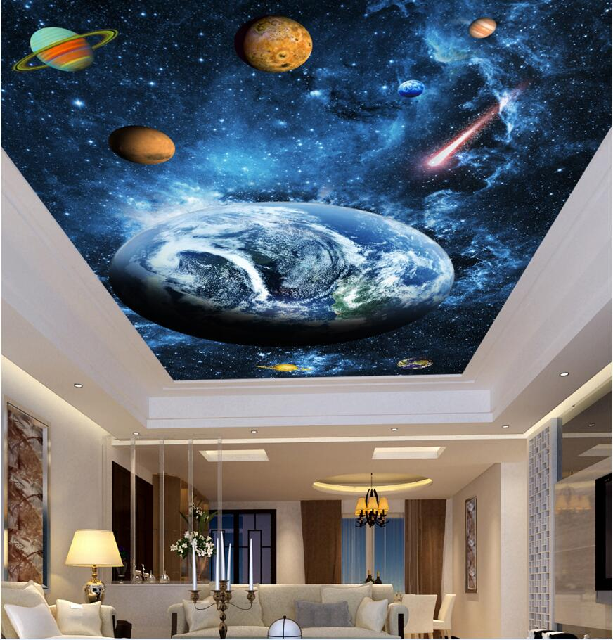 3d ceiling murals wall paper sky blue dream planet decor for Ceiling mural wallpaper