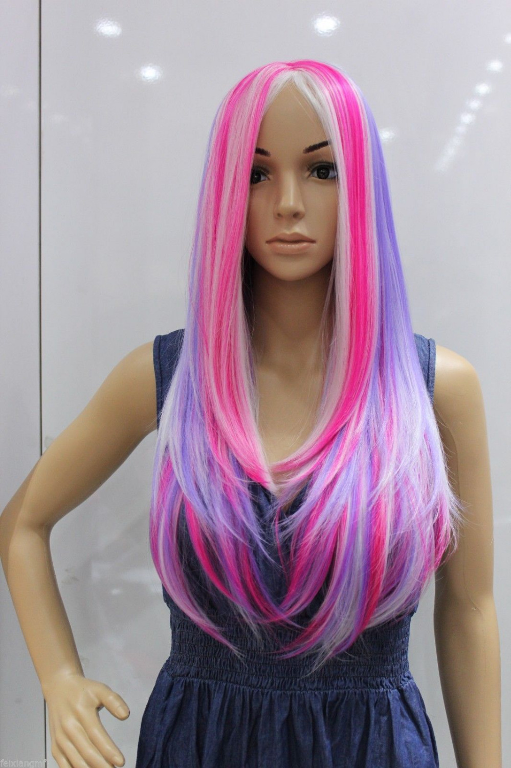 free shipping USPS to USA New color cosplay wig pink blue