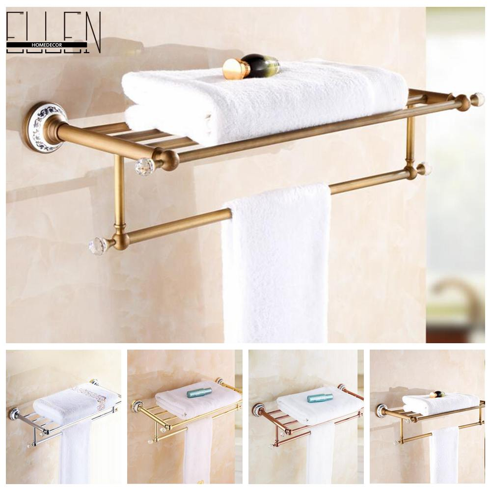 Bathroom Bath Towel Shelf Antique Bronze Towel Rack Ceramics Decorate Golden Towel Holder Bath Hardware EL5062