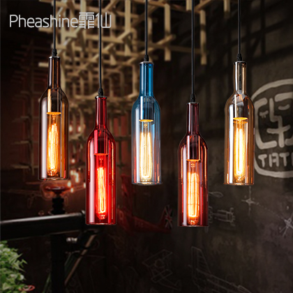 Loft Vintage Wine Bottle Glass Edison Pendant Lights Retro Industrial Pendant Hanging Lamps Shades for Cafe Bar Aisle Hall Decor 2 pcs loft retro light rusty color hanging lamp cafe bar pendant lights creative edison lamps industrial style pendant lighting
