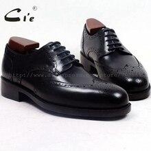 Cie/Полные броги с круглым носком и медальоном; мужские туфли ручной работы на заказ; кожаные туфли на заказ; мужская деловая обувь; Цвет Черный; goodyear welted; D156