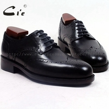 cie round toe full brogues medallion custom handmade men shoe bespoke leather shoe men's dress office black goodyear welted D156