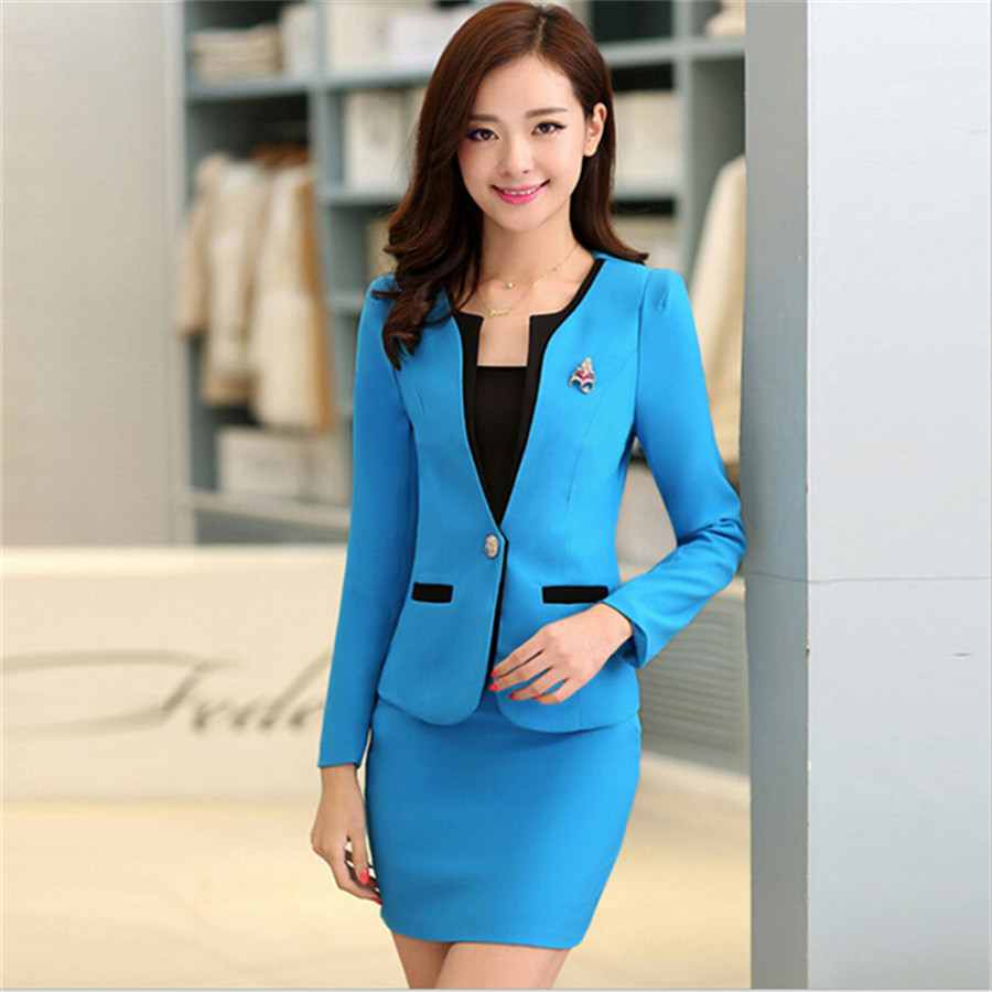 adb27d7bd 2XL Women Skirt Suits Candy Color Women Business Suits Office Uniform  Designs Women Elegant Work New Fashion Blazer Feminino-in Skirt Suits from  Women's ...