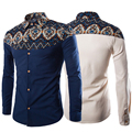 2017 Primavera Moda Africana Floral Impreso Algodón de Lino Camisas de Los Hombres de Manga Larga Camisa de Los Hombres de Cáñamo Más Tamaño 5XL Mayor de China