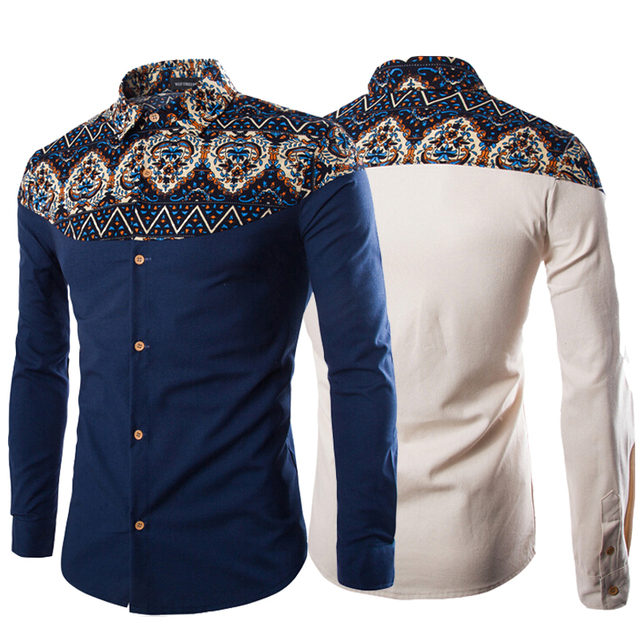 108f313c1a6a 2017 Spring Fashion Tribal Floral Traditional African Print Long Sleeve  Hemp Linen Shirts Men Plus Size 5XL Black Navy Beige