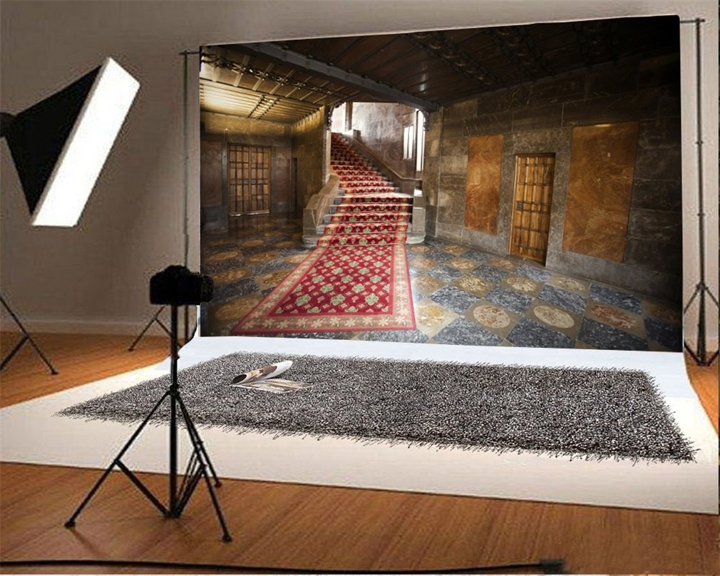 Photography Backdrop Church Stair Vintage Red Carpet Shabby Chic Room Retro Marble Floor Interior Photo Background Party