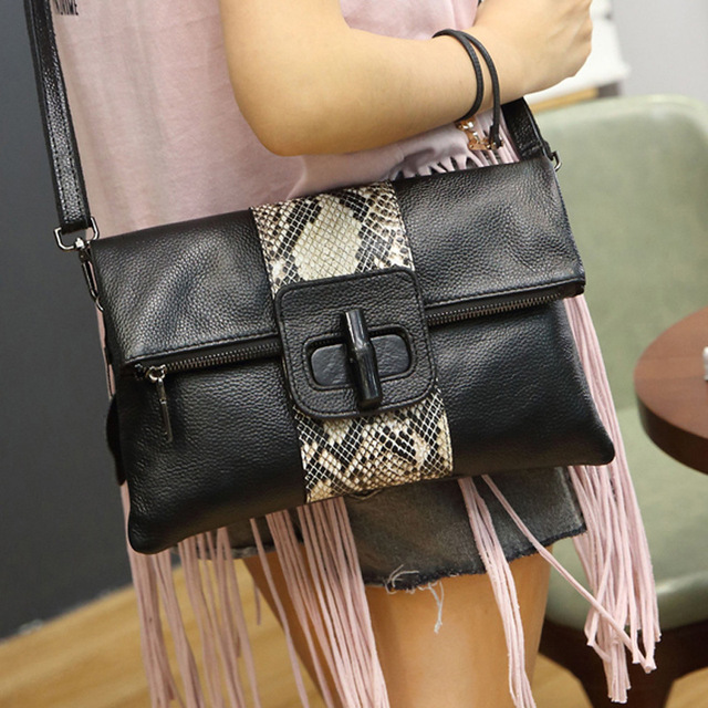 High Quality Genuine Leather Brand Designer Messenger Bag Serpentine Leather  Women Handbags Fashion Clutch Women Messenger Bags 774b622912877