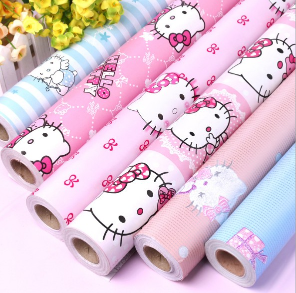 Hellokitty blue self adhesive vinyl decorative wallpaper wall stickers wallpapers for kids room 0.45m*10m moon fairy decorative wall stickers for kids room