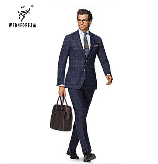 WEONEDREAM New Custom Made Men Plaid Suit,blue Plaid Suits for Men ...