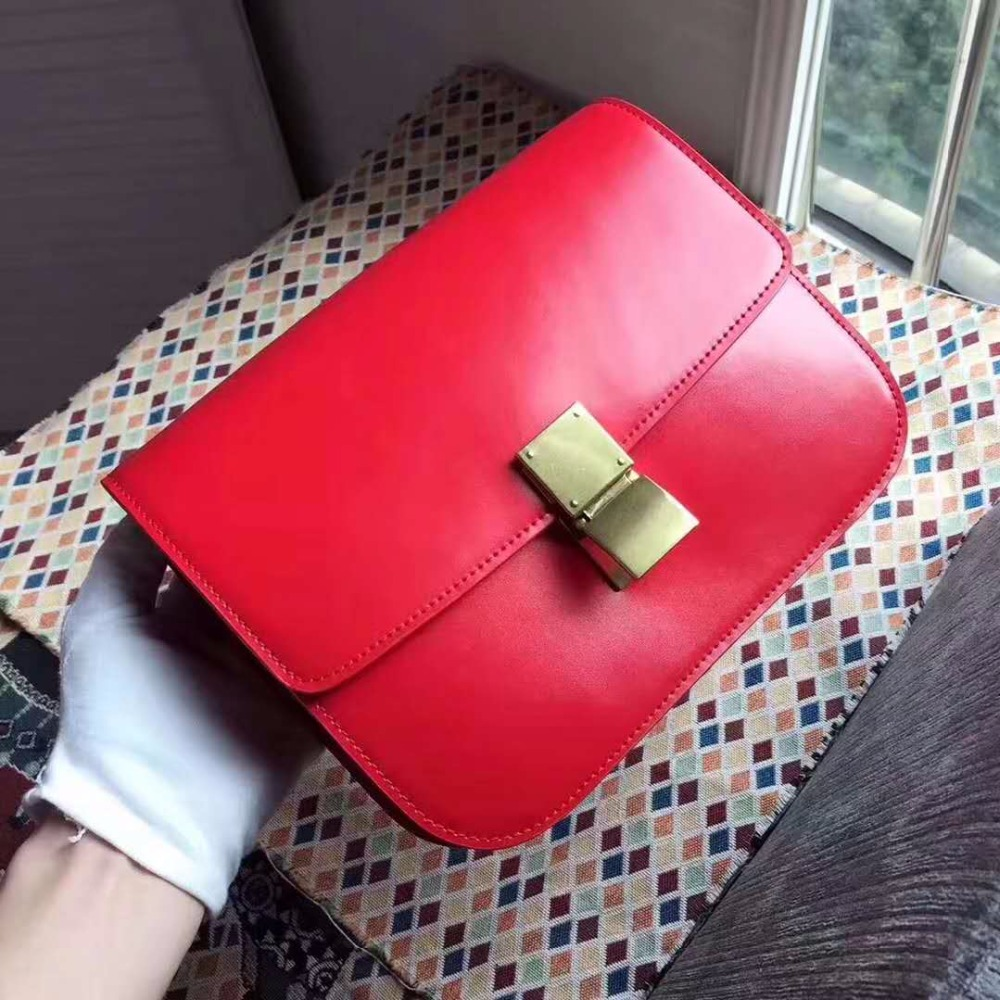 2018 hot selling latest fashion women lady genuine cowhide skin leather shoulder bag lady cross body bag gold metal square