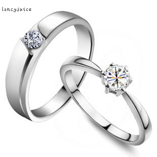 80c0dc2817 Noble Shining Gem Rhinestone Finger Ring 18 K White Gold Luxury Jewelry  Fashion Simple Couple Rings For Lover Men Women