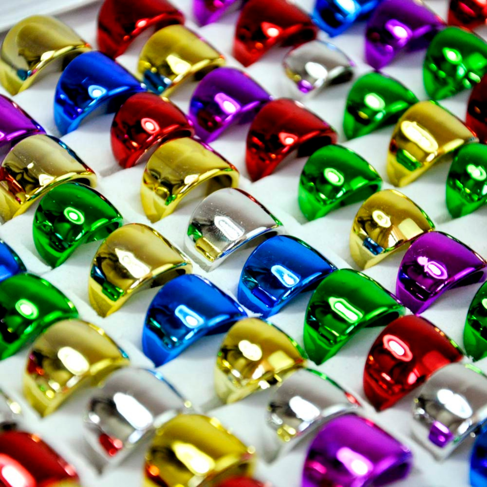 500 Pcs Lot Glisten Mixed Colors Plastic Plating Color Rings For Childrens Boys Girls Fashion Kids Jewelry Lots LR4046