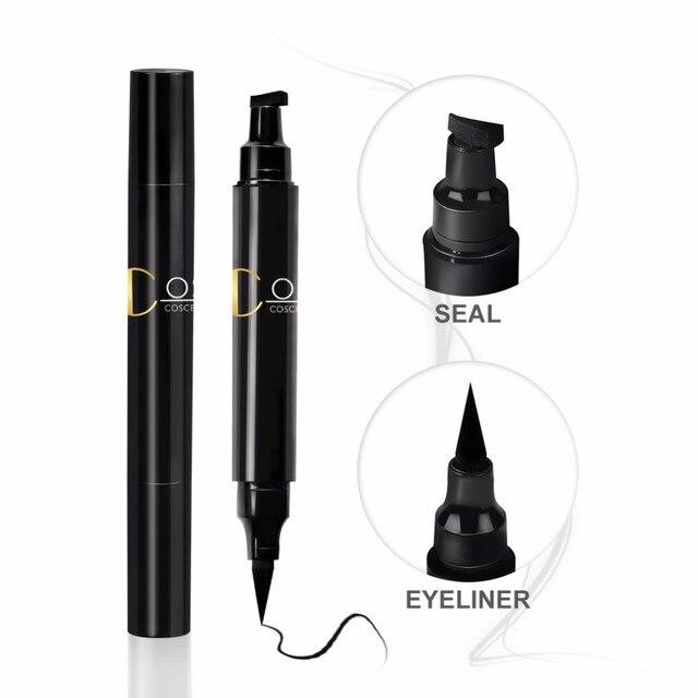 COSCELIA 1PC 2-in-1 Waterproof Seal Black Double Head Waterproof Stamp Eyeliner Pen Tattoo Stamping Eye Liner Pencil Makeup Tool 2