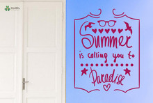 YOYOYU Vinyl Wall Decal Summer Is Calling You To Paradise Statement Simple Art Home Decoration Stickers FD176