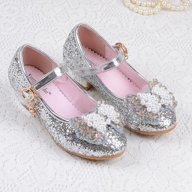 Girls Princess Single Sandals Heels Snow Queen Colors Glass Slipper Shoes  From 3 To 12 Years Old Girl The New Quality 4fff823708db