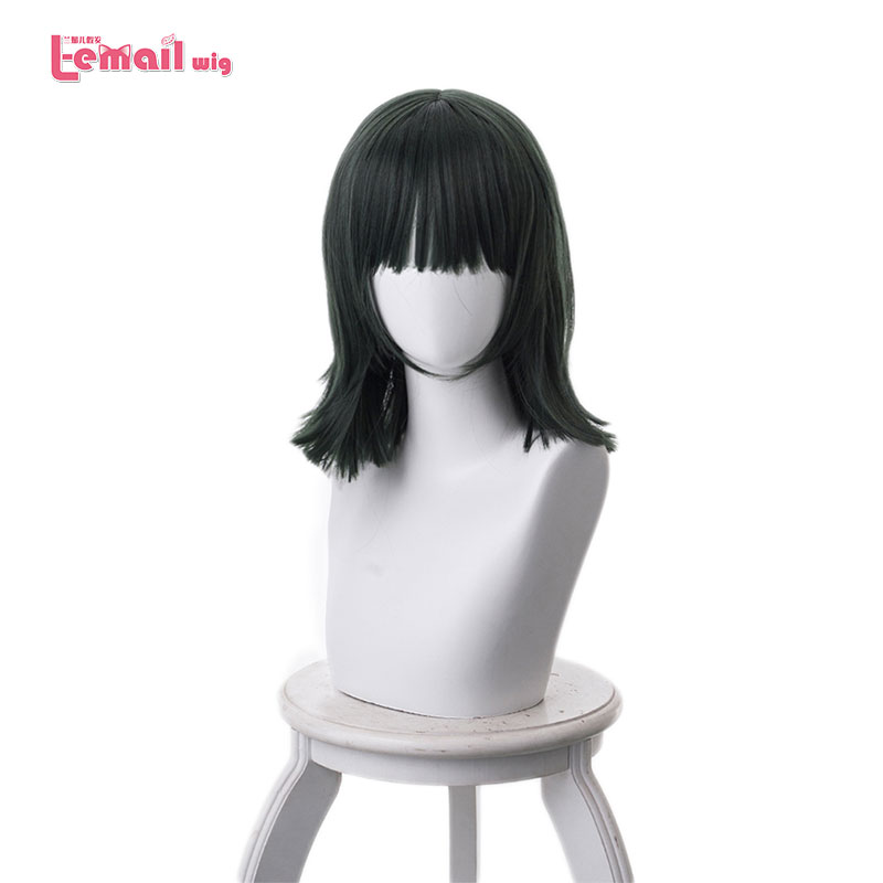 L email wig One Punch Man Fubuki Cosplay Wigs 40cm Dark Green Heat Resistant Synthetic Hair Perucas Cosplay Wig