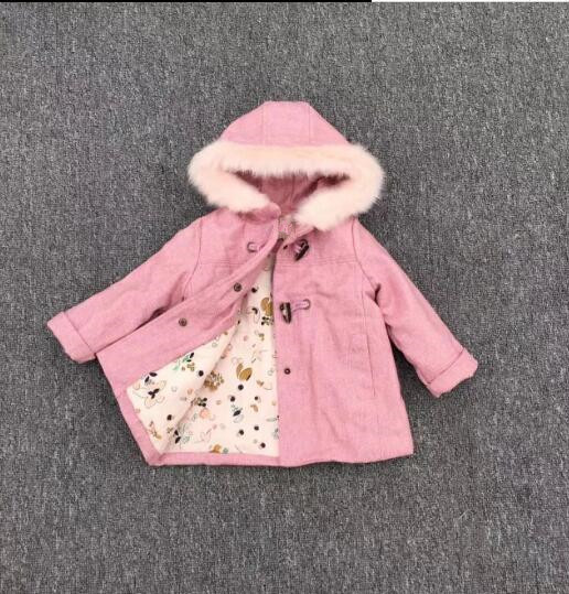 harmonious colors real quality special buy autumn bay girl jacket wool pink fur hooded kids jacket for girl coat  outfit baby Outerwear Children outfit Girls Clothes